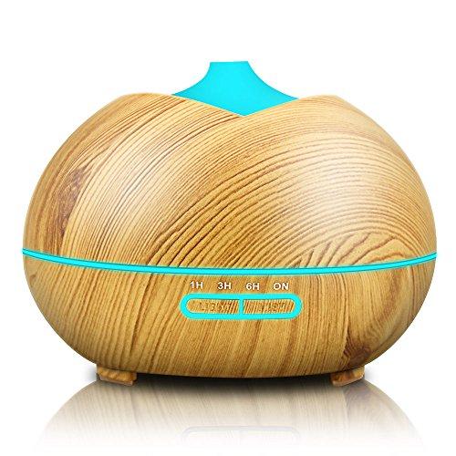 Aroma Diffusers 350ml Ultraschall Luftbefeuchter Oil Düfte Holzmaserung LED mit 7 Farben Ruhigen Timing für Yoga Salon Spa Baby Schlafzimmer (Ruhige Spa)