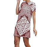 KUDICO Damen Kleid Kurzarm Oansatz Sommerkleid Ethnisch Gedruckt Lässige Minikleid Bluse Kleider Tunika T-Shirt Kleid(Weinrot, EU-38/CN-L)