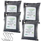 4 Beuteln Natürliche Bambus Aktivkohle Luftreiniger, Geruchsbeseitiger und Lufterfrischer, Entfeuchter Schrank und beseitigt Gerüche, 200g / Beutel, schließt 4 Haken mit ein