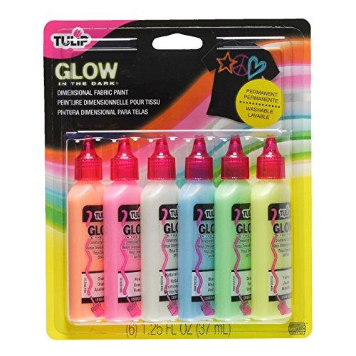 Tulip Glow - Botes de pintura para tejidos (relieve, brilla en la oscuridad, 6 unidades)
