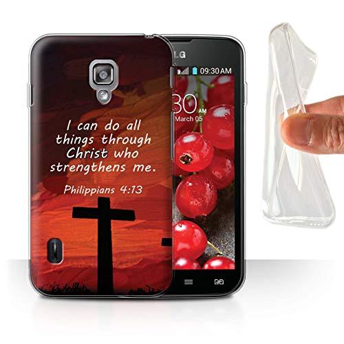 Stuff4® Gel TPU Hülle/Case für LG Optimus L7 II Dual/Christ Strengthens/Philippians Muster/Christliche Bibel Vers Kollektion (Case Lg Ii Dual Optimus L7)