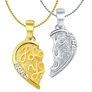 Sukkhi I Love You Gold And Rhodium Plated 2 In 1 Valentine Broken Heart Pendant With Chain for Women