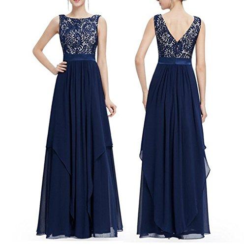 iShine Femmes Dentelle sans Manches Creuse sexy robe de Soirée Bleu