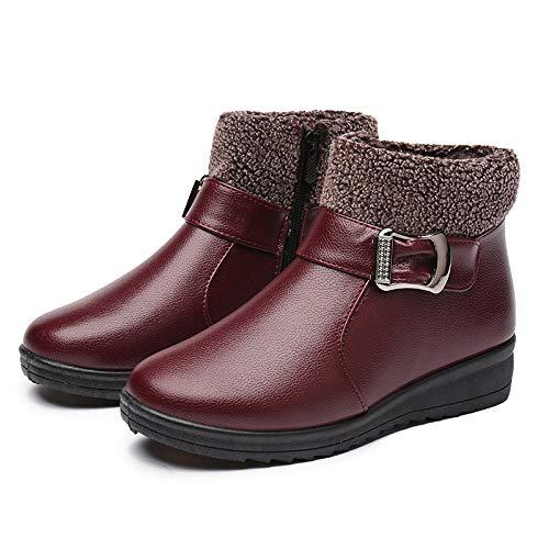 Shukun Bottes Chaussures pour Femmes d'hiver Chaussures en Coton d'âge mûr Chaussures pour Femmes d'âge mûr Chaussures pour Personnes âgées