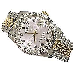 Silver diamond dial bezel rolex DATE men's watch two tone jubilee bracelet