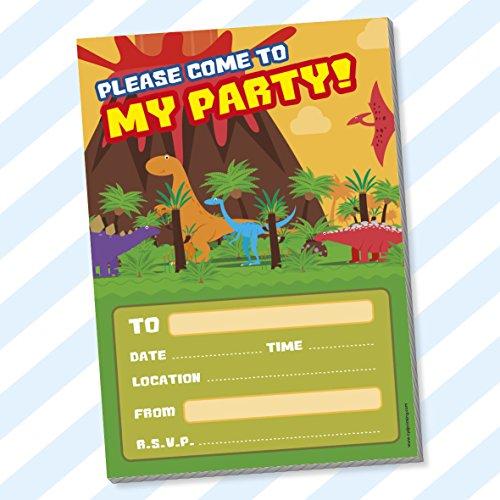 Childrens Kids Birthday Party Invitations Invites Pack Pads Blank Boys Girls (Dinosaurs)