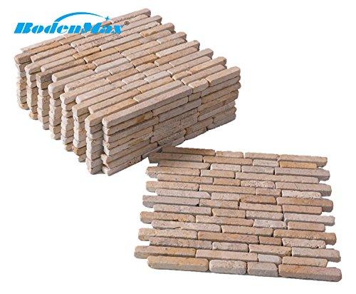 BodenMax® Travertine TP-CLP mediterran Naturstein Mosaik für Innen- und Außenwand oder Boden cremefarben beige