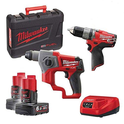 Kit 12V Fuel Bohrhammer + Schlagbohrmaschine + 2Batterien 6Ah (Milwaukee Fuel Tools Kit)