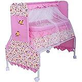 Baybee Baby Comfort Cradle Cot | New Born Baby Swing Cradle With Mosquito Net & Wheel Newborn Bedding Sets/Baby Nursery Bedding Bassinets (Pink)