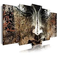 DekoArte 408 - Cuadro moderno en lienzo 5 piezas zen buda cara de piedra feng shui, 150x3x80cm