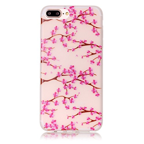 TOCASO Copertura di Cover in TPU Case per iPhone 6 / 6S Custodia Silicone Nottilucenti, Flip cover Ultra Sottile Shock-Absorption shell protettivi Bumper Covers Alto Morbido Crystal Clear Gel Sottile  Fiore Plum