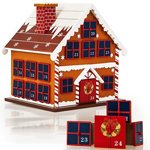 Deuba Calendrier de l'Avent Maison en Bois à remplir soi même Décoration Noel Calendrier de noël