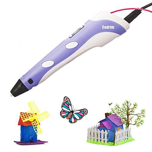 Cadrim Stylos d'impression 3D,Dessin Pen 3D Arts Décoratifs Dessin avec LED Display 3D stylo-Ⅱ Printe Pen Stylo à Peindre...