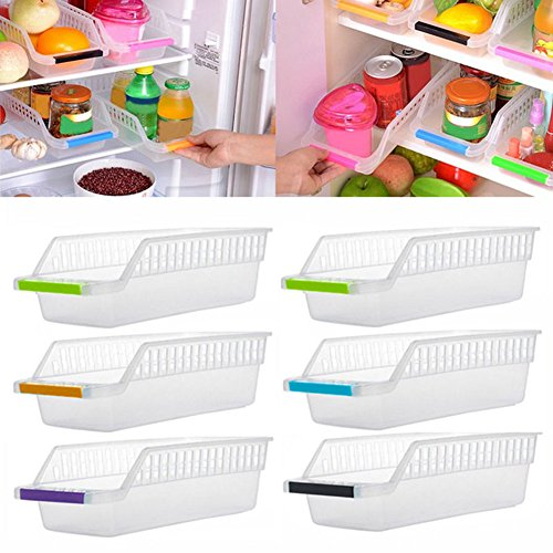Quanjucheer frigo salvaspazio organizer, slide under scaffale vassoio per mantenere frutta verdura carne pesce, random, 30cm x 13.5cm x 8.5cm