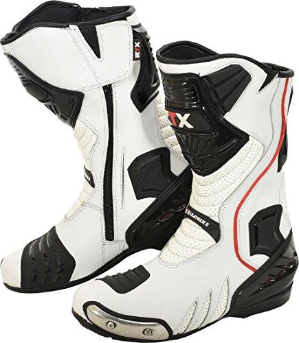 RTX Daytona Sport Bianco & Nero CE Cover in Pelle da Motocicletta Biker Stiv