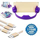 Drumstone Flexible Portable Mount OK Shaped Stand Holder IPad Android Smartphones Tablet With Fiber 3 In 1 Charging Cable (8 Pin Lightning, USB Type C, Micro USB) Compatible With Xiaomi Mi, Apple, Samsung, Sony, Lenovo, Oppo, Vivo Smartphones (One Year Wa