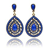 Baby : Minshao Women Vintage Bohemia Drop Earring Resin Beaded Heart Vintage Earrings (Blue)