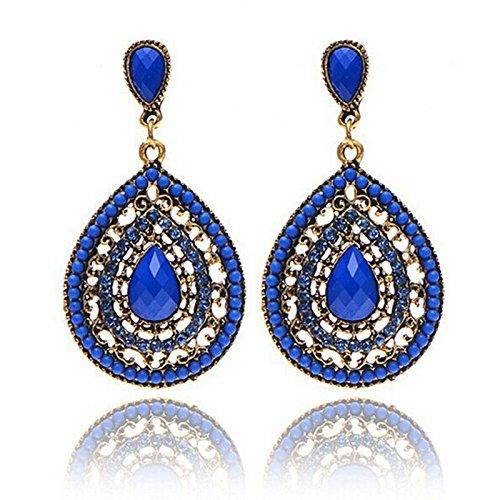 Damen Schmuck DAY.LIN Frauen Vintage Böhmen Tropfen Ohrring Harz Perlen Herz Vintage Ohrringe (Blau)