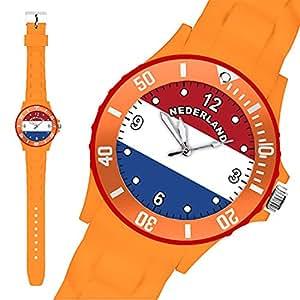 Taffstyle® Fanartikel Silikon Armbanduhr Gummi Trend Watch Quarz Fan Uhr mit Fussball Weltmeisterschaft WM & EM Europameisterschaft 2016 Länder Flaggen Style – Holland /Niederlande