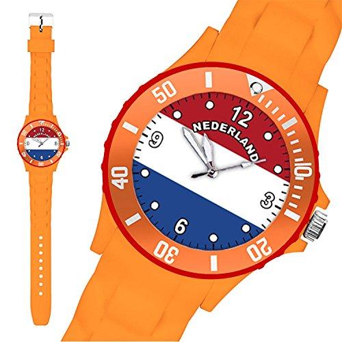 Taffstyle® Fanartikel Silikon Armbanduhr Gummi Trend Watch Quarz Fan Uhr mit Fussball Weltmeisterschaft WM & EM Europameisterschaft 2016 Länder Flaggen Style - Holland /Niederlande
