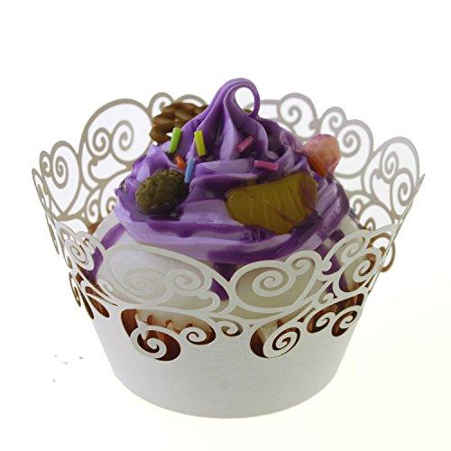 ic filigranen Backen Kuchen-Cups Vine Spitze Cupcake Wrappers Packungen Fällen Hochzeit Geburtstag Dekorationen,creme (Halloween-kuchen-dekoration-klasse)