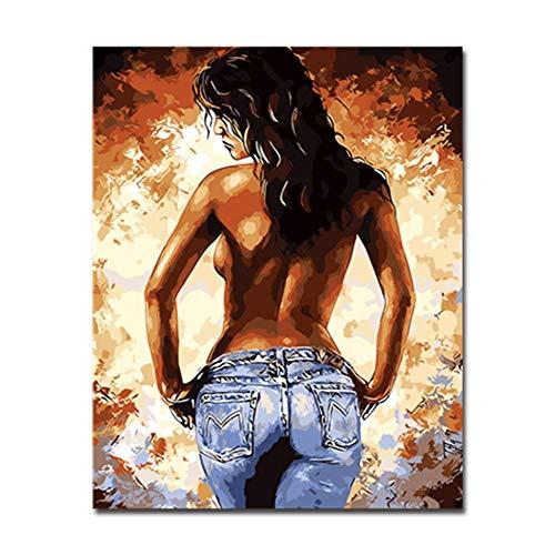 YEEHOR Malen Nach Zahlen DIY Ölgemälde Durch Zahlen Kits Zeichnung Frau Zurück Körper Kunst Bilder Abbildung Färbung Wohnkultur Wandkunst