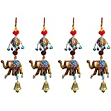 Door Hanging Gold Elephant With Cheed Ball Rudraksha PumPum And Metal Bell Set Of 4 By Handicrafts Paradise