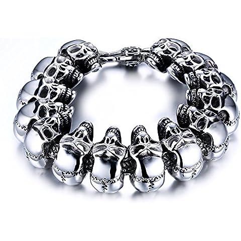 mealguet Jewelry Gótico Punk Estilo Acero Inoxidable 316L Calavera Vinculado Hombre Heavy resistente pulseras