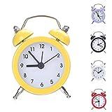 Yeshi - Reloj Despertador de Doble Campana de Metal con Forma Redonda para el hogar, la Cocina, la Oficina