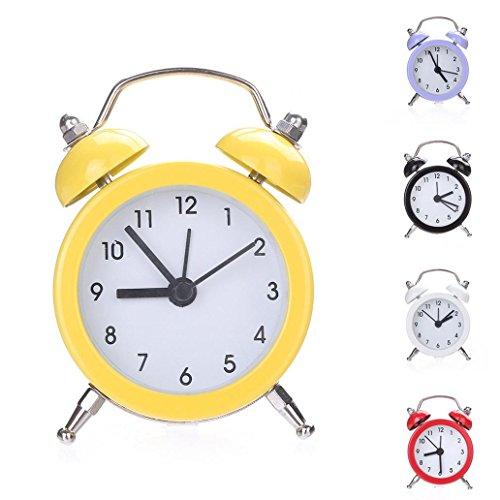 Yeshi Mini Runde Form Metall Twin Bell Wecker Schreibtisch Ständer Uhr für Zuhause Raum Küche Büro gelb