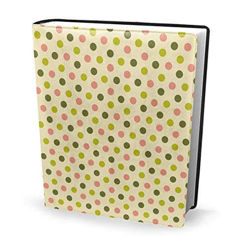 Book Cover SXV Dots X Dim Sum Waterproof PU Leather School Book Protector Washable Reusable Jacket 9x11 in Dots Cover Case Snap