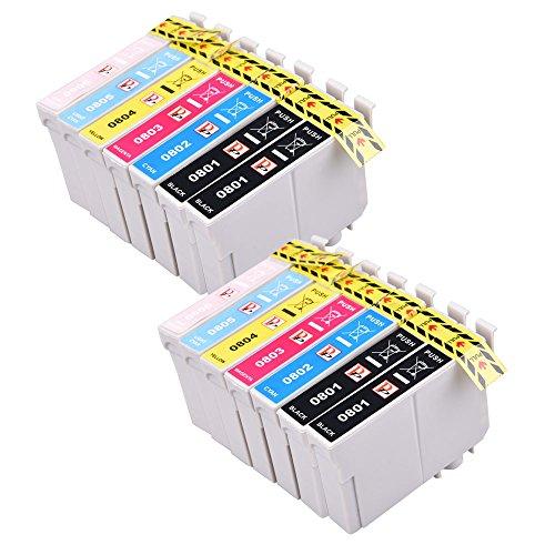 Preisvergleich Produktbild PerfectPrint Kompatibel Tinte Patrone Ersetzen für Epson Stylus Photo P50 R265 R285 R360 RX-560 585 685 PX-650 660 700W 710W 720WD 730WD 800FW 810FW T0801 (Schwarz/Cyan/Magenta/Gelb/Licht-Cyan/Licht-Magenta, 14-pack)