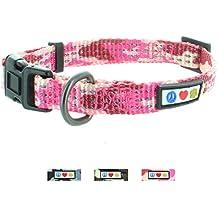 Pawtitas Collar ajustable para Cachorros y Perro Reflectante Pequeño Camouflaje Rosa