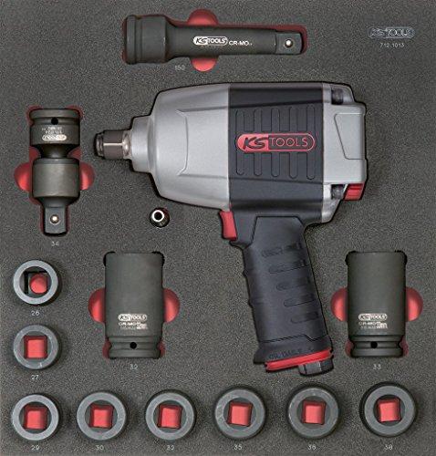 KS Tools 712.1013 Module de douilles et clé à chocs pneumatique 3/4'', 13 pièces Noir