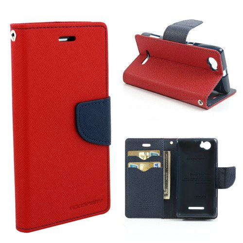 Cubezap Mercury Goospery Fancy Diary Card Wallet Flip Case Back Cover for Sony Xperia M Experia Dual - Red Blue  available at amazon for Rs.380