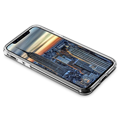 iPhone X Hülle | JAMMYLIZARD Transparente Outdoor Schutzhülle [SkyClear Serie] Durchsichtige Handyhülle Lifeproof Hard Case mit Silikon-Bumper in Crystal Clear [inkl. Panzerglas für Apple Apple iPhone TRANSPARENT