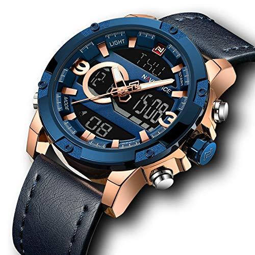 gorben Herren Leder Sport Uhren wasserdicht Chronograph Digital Armbanduhr Quarz-Uhrwerk Alarm Uhr für Herren Weihnachten Jahrestag Geschenke