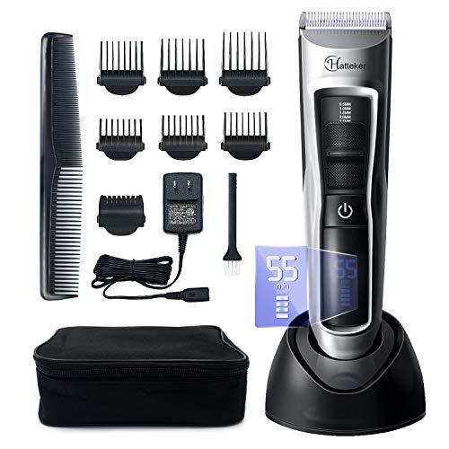 HATTEKER Haarschneider Haarschneidemaschine Set Herren Profi Haartrimmer Bartschneider Barttrimmer Präzisionstrimmer Männer Wasserdichter USB Wiederaufladbar Akku