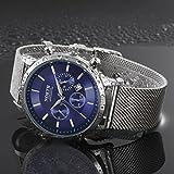 Sansee Kalender Quarz Armbanduhr Edelstahl Armband Herren Uhr-NORTH Männer drittes Grad wasserdichtes Netz mit Quarzuhr N-6009 (Blau)