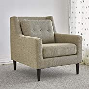 Home Canvas DOXY Upholstered Chair Fabric Armchairs for Living Room - Tufted Cushion Back, Solid Wood Legs | A