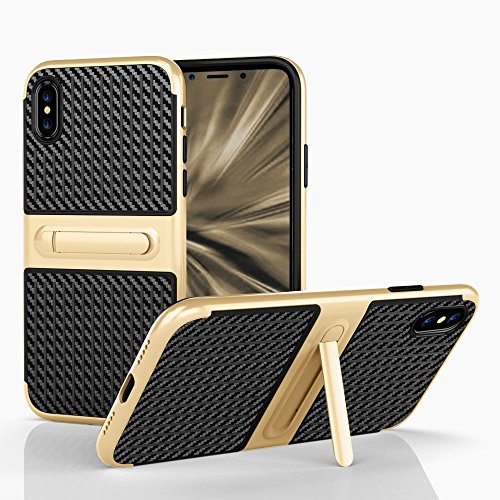 Handy Case für Apple iPhone X 10 - 5.8 Zoll | mit Kickstand CARBON FIBRE Hybrid Cover TPU Kunststoff Plastik mit Kickstand Handy Cover Tasche Schale Schutz Hülle Noble Gold