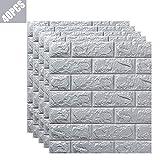 SFOXL PE de Espuma de 3D Wallpaper DIY Pared Pegatinas Decoración de Pared en Relieve Piedra de ladrillo 70 * 77cm,Gris,40PCS