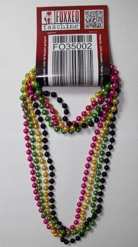 (Foxxeo 35002 | 4 Deluxe Perlenketten im trendigen 80er Jahre Look Metallic Perlen Kette Perle gelb grün pink schwarz)