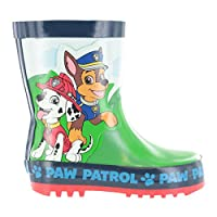 Boys Paw Patrol Green & Blue Wellies Wellington Rain Boots Sizes UK Child 4-10