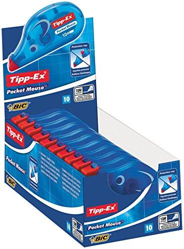 Tipp-Ex Pocket Mouse Korrekturroller mit Bandschutzkappe - Korrekturband 10m x 4,2mm - 10er Pack (Tipp Deckt)