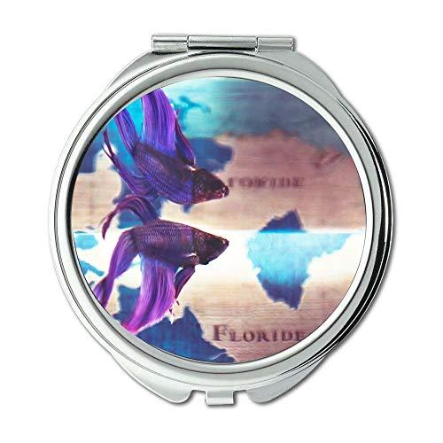 Yanteng Spiegel, Reisespiegel, Aquarium Betta Fisch blau, Taschenspiegel, tragbarer Spiegel