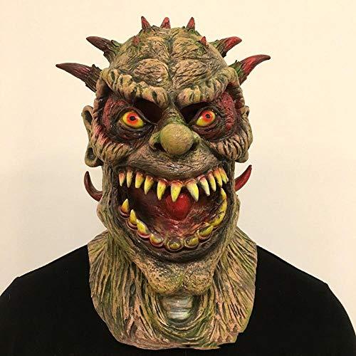 Circlefly Halloween Horror mutierte Monster Maske Filmrolle Spielen Dress up Requisiten beängstigend Latex Dämon Perücke