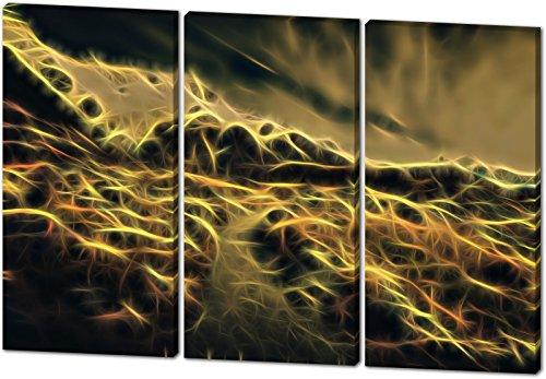On The Mountains, Light Effect, schönes und hochwertiges Leinwandbild zum Aufhängen in XXL - 3 Teiler mit 120cm x 80cm, echter Holzrahmen, effektiver Pigmentdruck, modernes Design für Ihr Büro oder Zimmer (Rocky-film T-shirts)