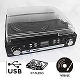 Inovalley Retro05 Schallplattenspieler Plattenspieler mit Radio und Kassetten (MP3-USB-SD-Port, AUX, inkl. Tonabnehmersystem und Fernbedienung) schwarz