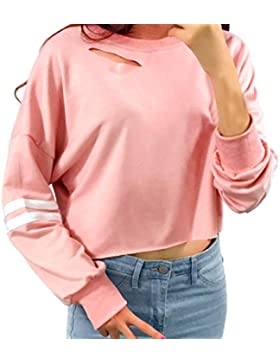 Sudaderas mujer Amlaiworld Sudadera de mujer hueco corto Manga larga de cosecha suéter tops